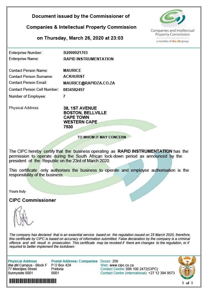 cipc certificate certified instrumentation rapid za